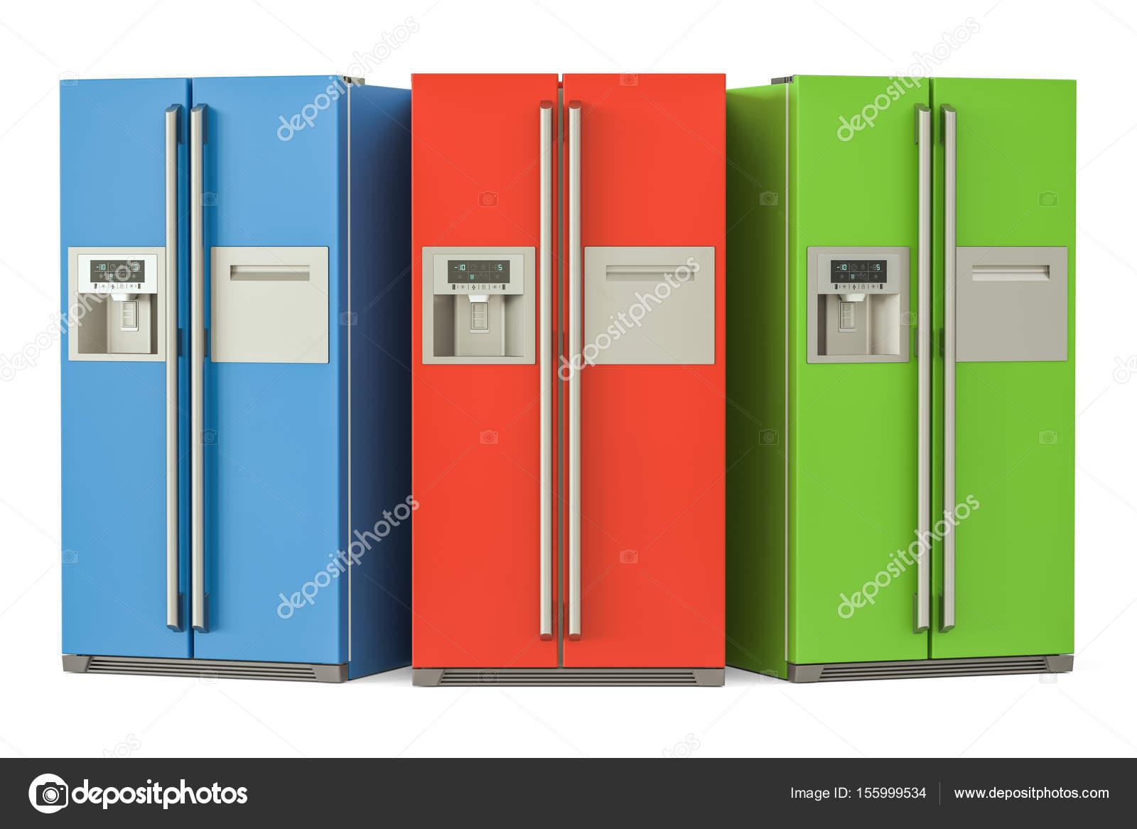 Reihe von farbigen Kühlschränke mit Side-by-Side-Tür-System, 3d r ...