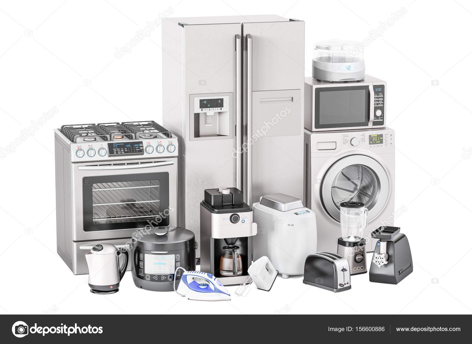 Set di elettrodomestici della cucina. Tostapane, lavatrice, frigo ...
