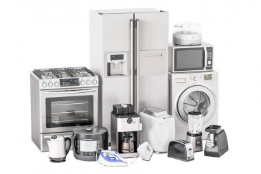 Set of kitchen home appliances. Toaster, washing machine, fridge
