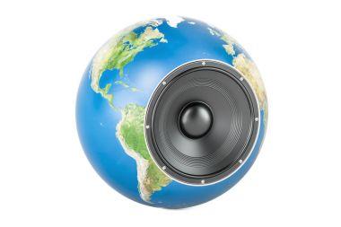Global musical concept, Earth globe with loudspeaker. 3D renderi