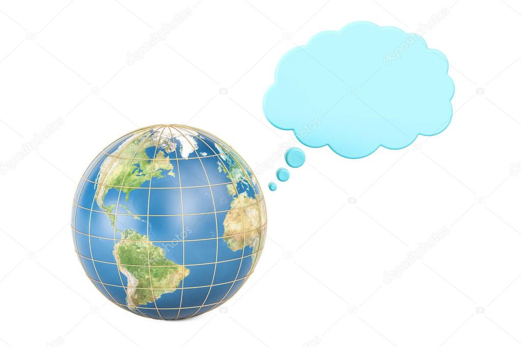 Earth globe with thought cloud, 3D rendering