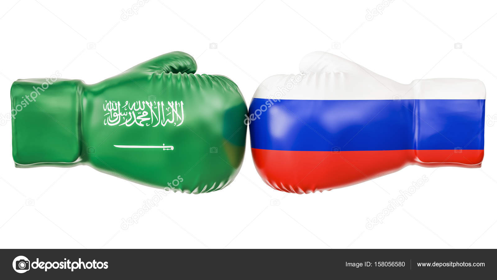Boxing gloves with Russia and Saudi Arabia flags  Governments co