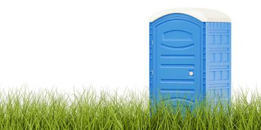 Portable blue toilet on the green grass, eco toilet concept. 3D
