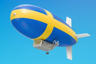 Airship or dirigible balloon with Swedish flag, 3D rendering