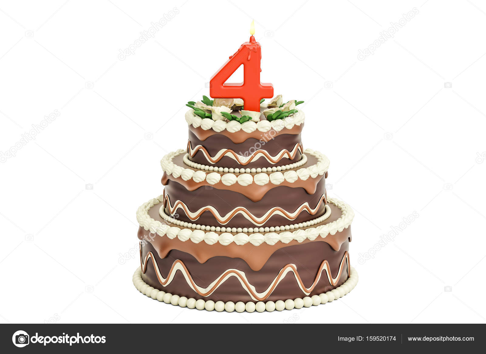 Chocolate Birthday Cake With Candle Number 4 3D Rendering Isolated On White Background Photo By Alexlmx