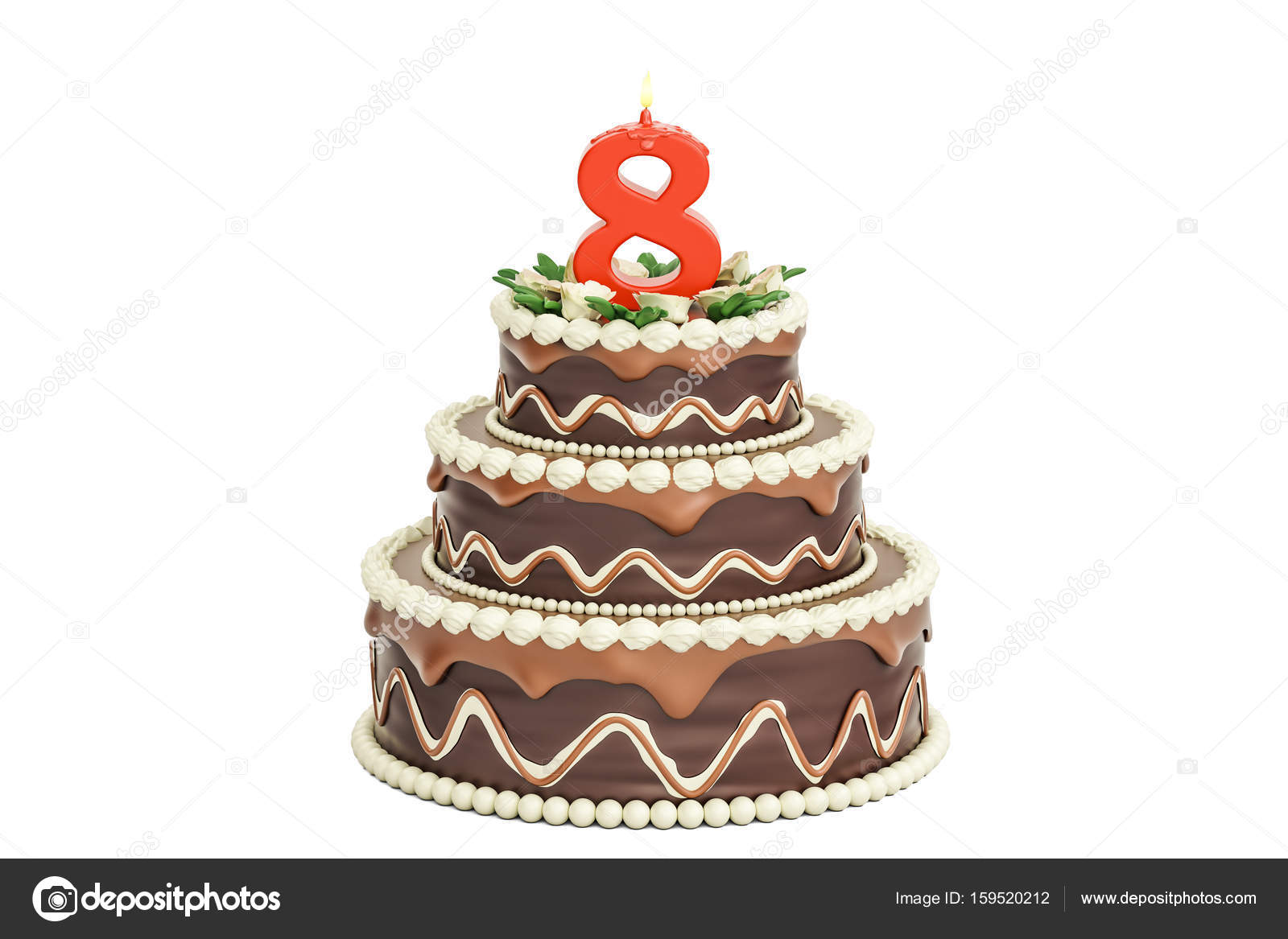 Chocolate Birthday Cake With Candle Number 8 3D Rendering Isolated On White Background Photo By