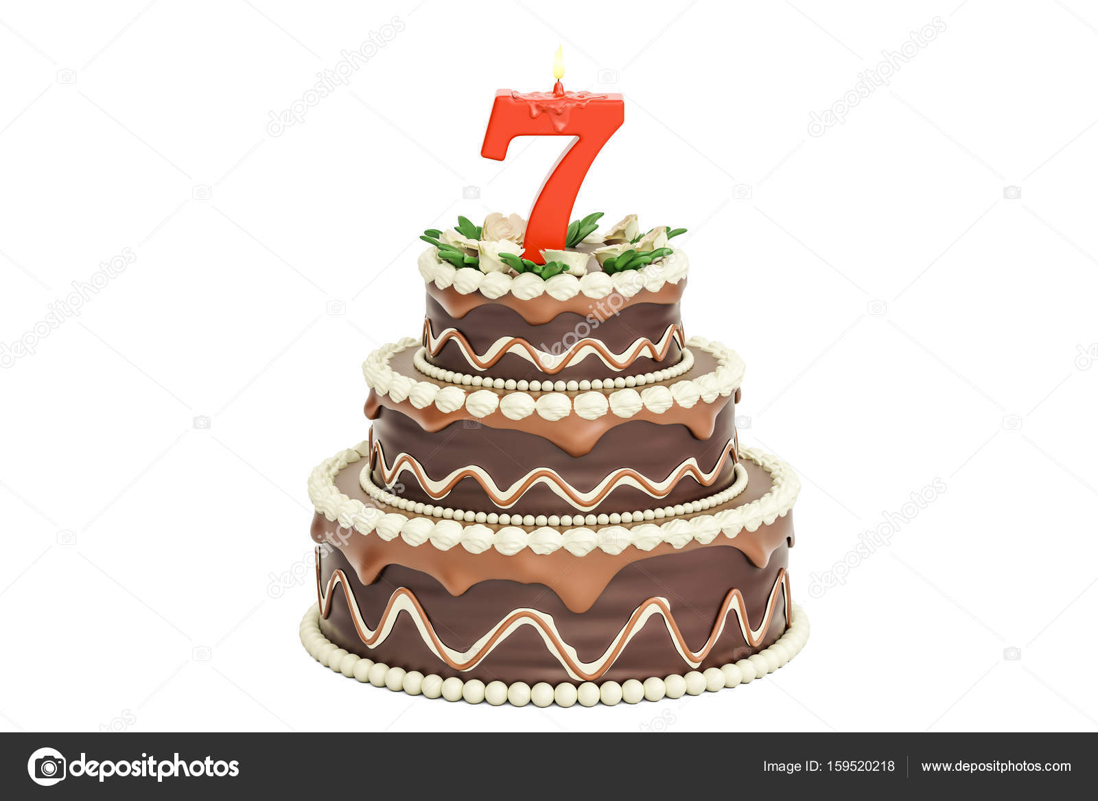 Chocolate Birthday Cake With Candle Number 7 3D Rendering Isolated On White Background Photo By