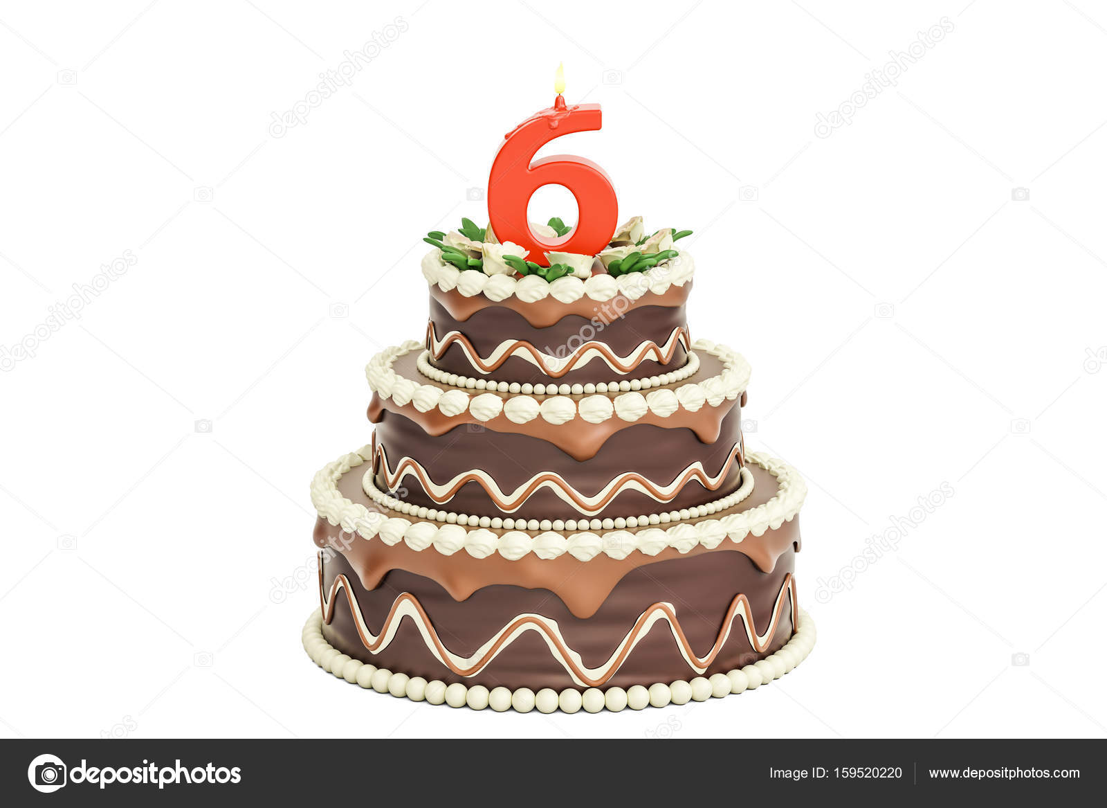 Chocolate Birthday cake with candle number 6 3D rendering Stock