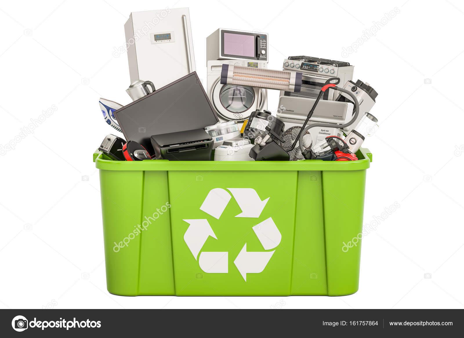 Recycling Mülleimer recycling mülleimer mit haushalt und haushaltsgeräte 3d rendering