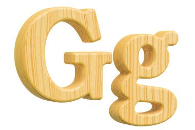English wooden letter G with serifs, 3D rendering