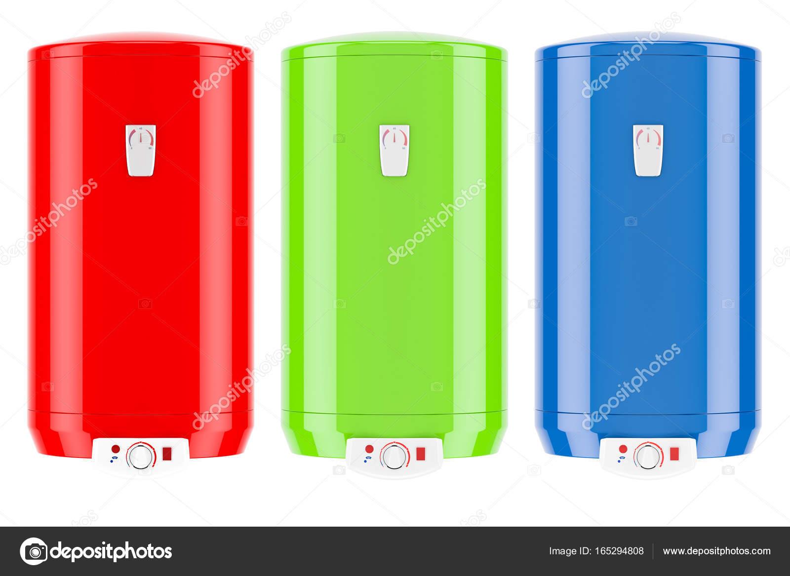 Reihe von farbigen elektrische Warmwasserbereiter oder Kessel, 3D ...