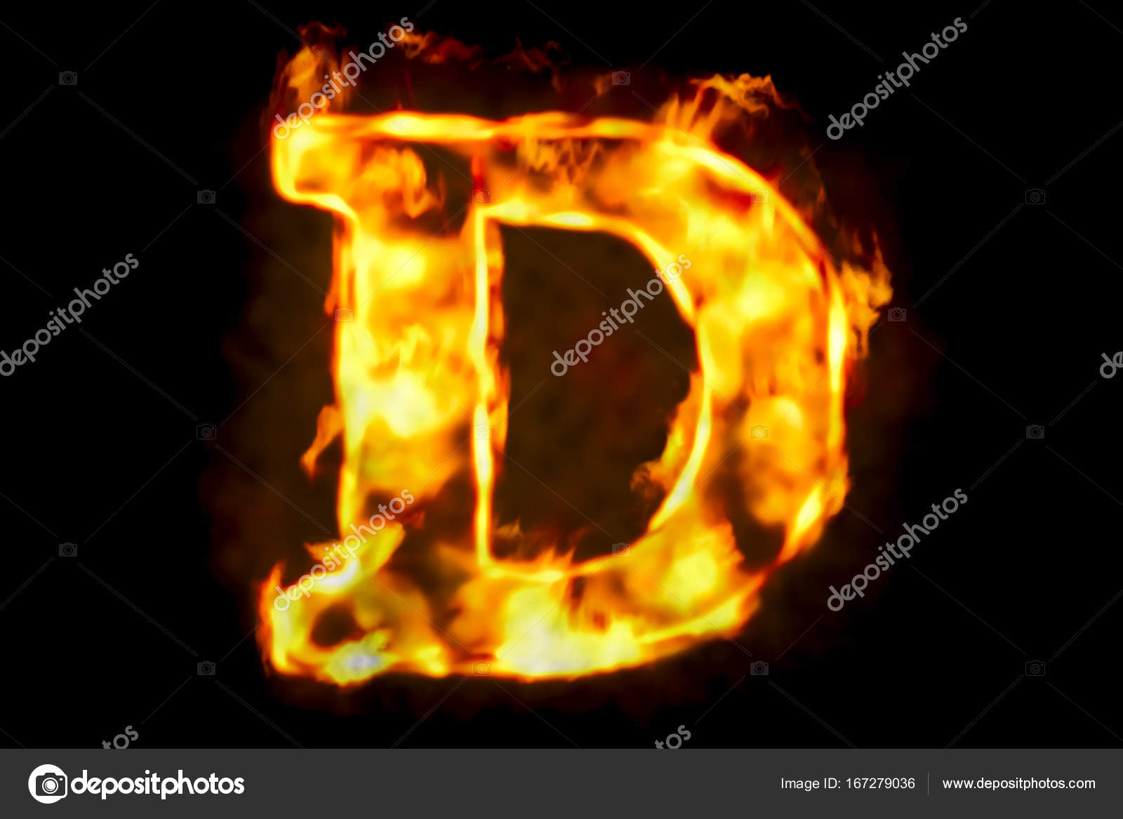 Fire letter D of burning flame light, 3D rendering — Stock Photo ...