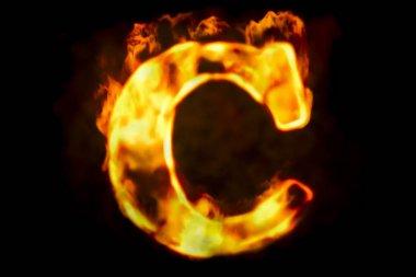 Fire letter C of burning flame light, 3D rendering