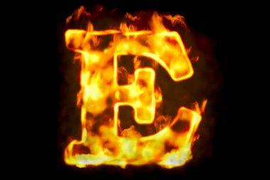 Fire letter E of burning flame light, 3D rendering isolated on black background stock vector
