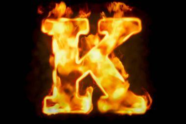 Fire letter K of burning flame light, 3D rendering