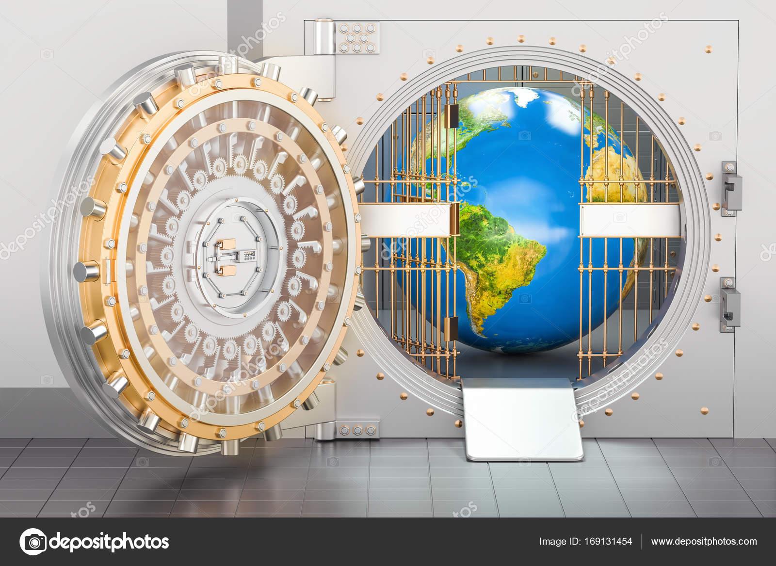Globo da terra para dentro do cofre do banco. Conceito de segurança on