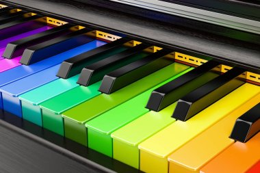 Piano colored keyboard, music concept. 3D rendering