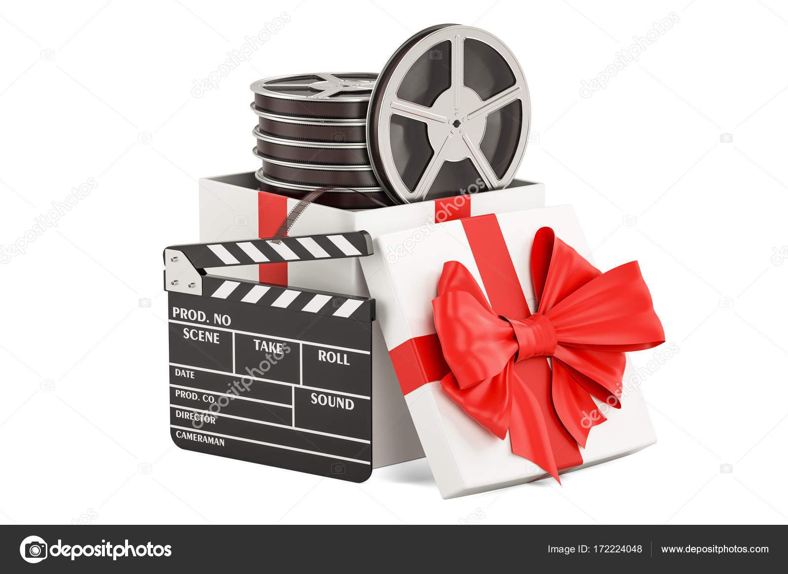 Film Geschenk Konzept 3d Rendering Stockfoto Alexlmx