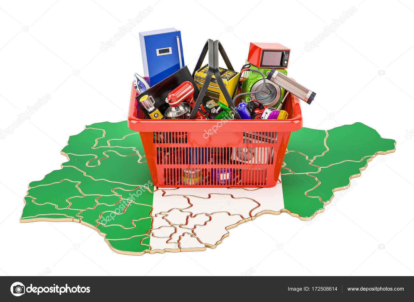 Carte du nigeria avec panier plein de matériel de maison et la cuisine rendu 3d image de