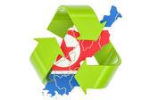 Észak-Korea fogalom, 3d rendering újrahasznosítás