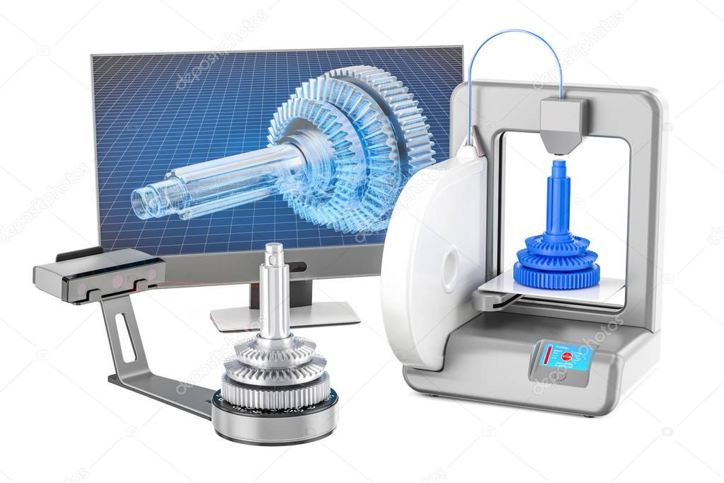 3d scanner, 3d printer and computer monitor, 3D rendering