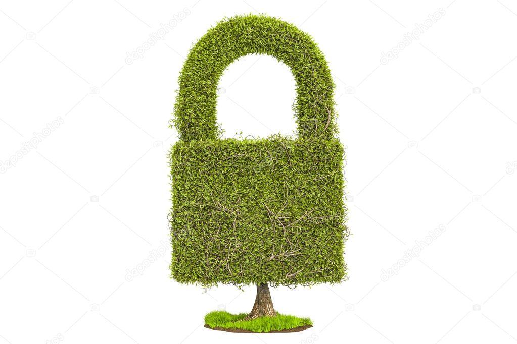 Green tree shaped as padlock, 3D rendering