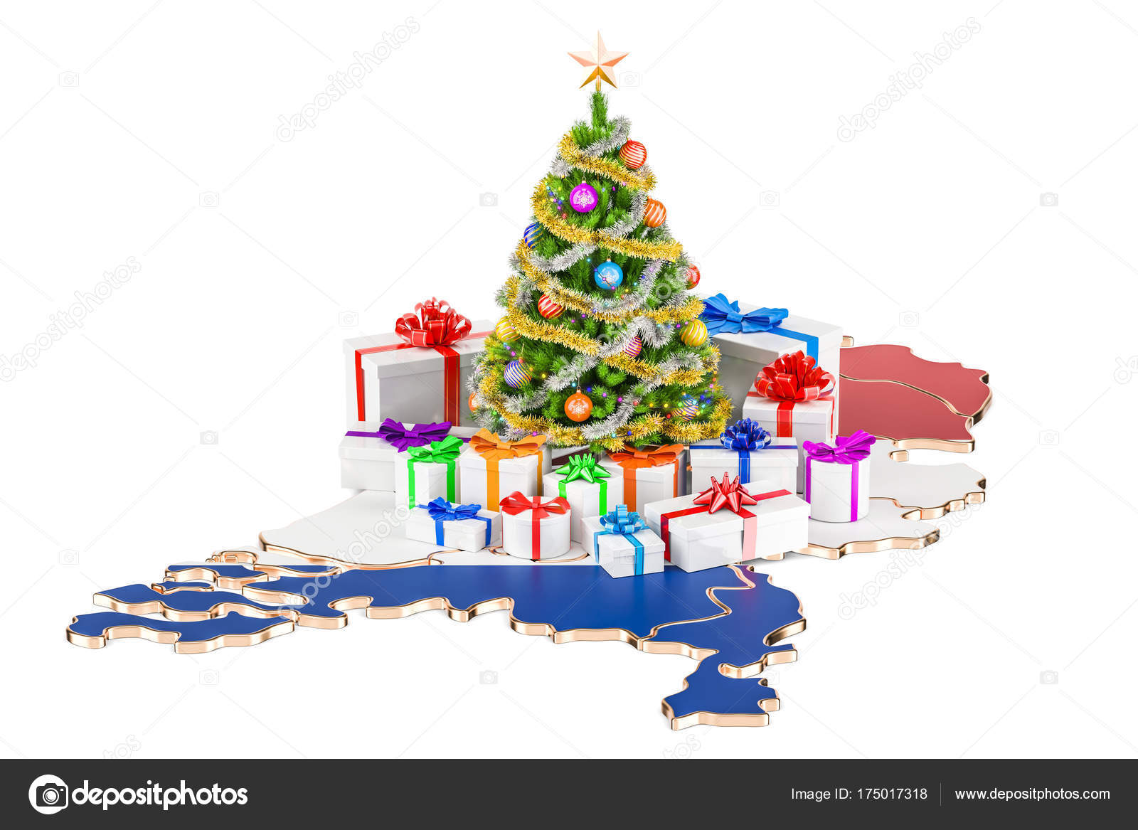 Weihnachten und Neujahr Urlaub in Niederlande-Konzept. 3D rende ...