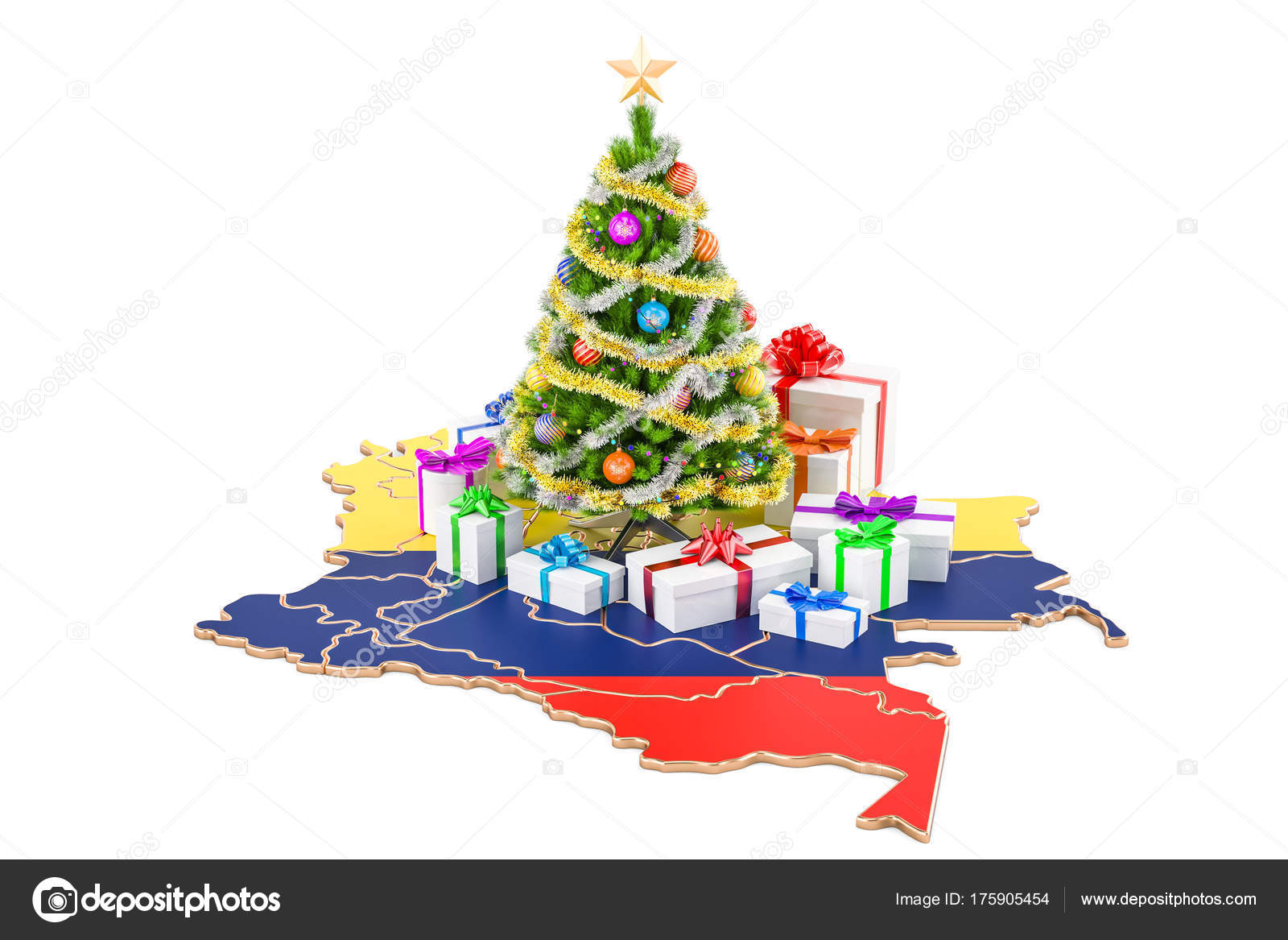 Christmas In Colombia.Christmas And New Year Holidays In Colombia Concept 3d