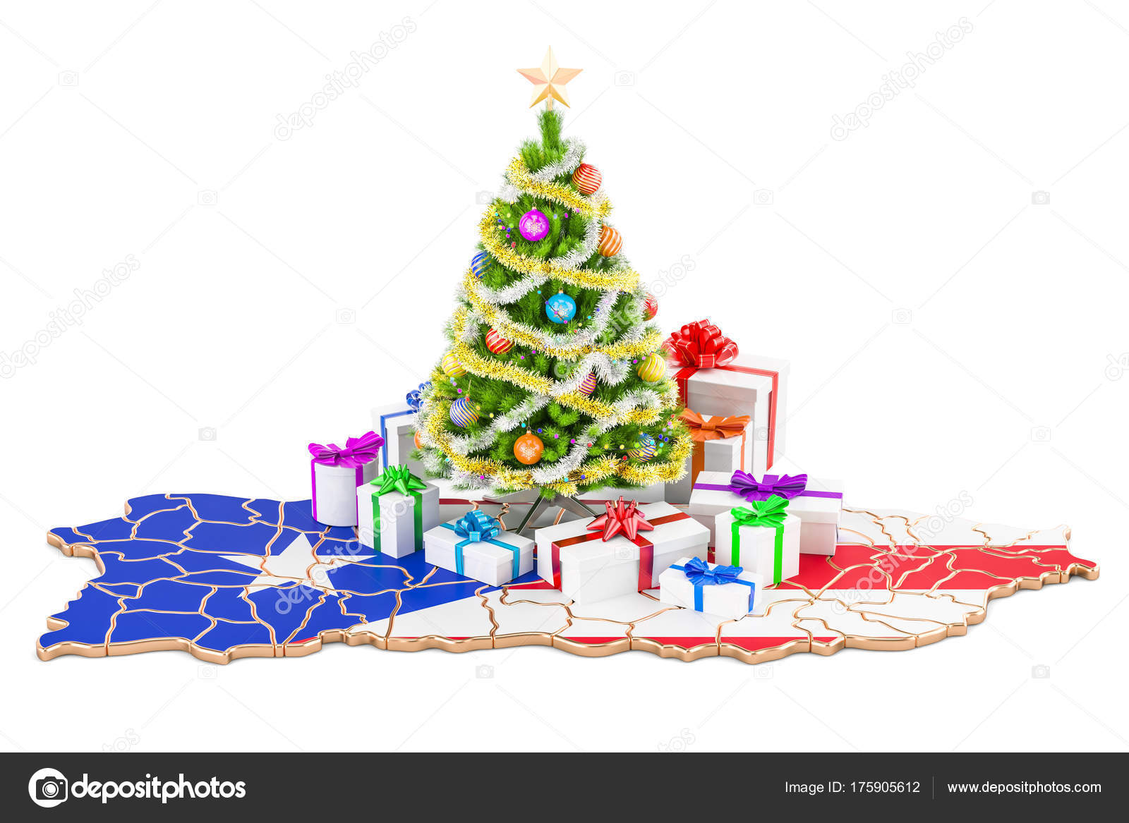 Christmas In Puerto Rico.Christmas And New Year Holidays In Puerto Rico Concept 3d