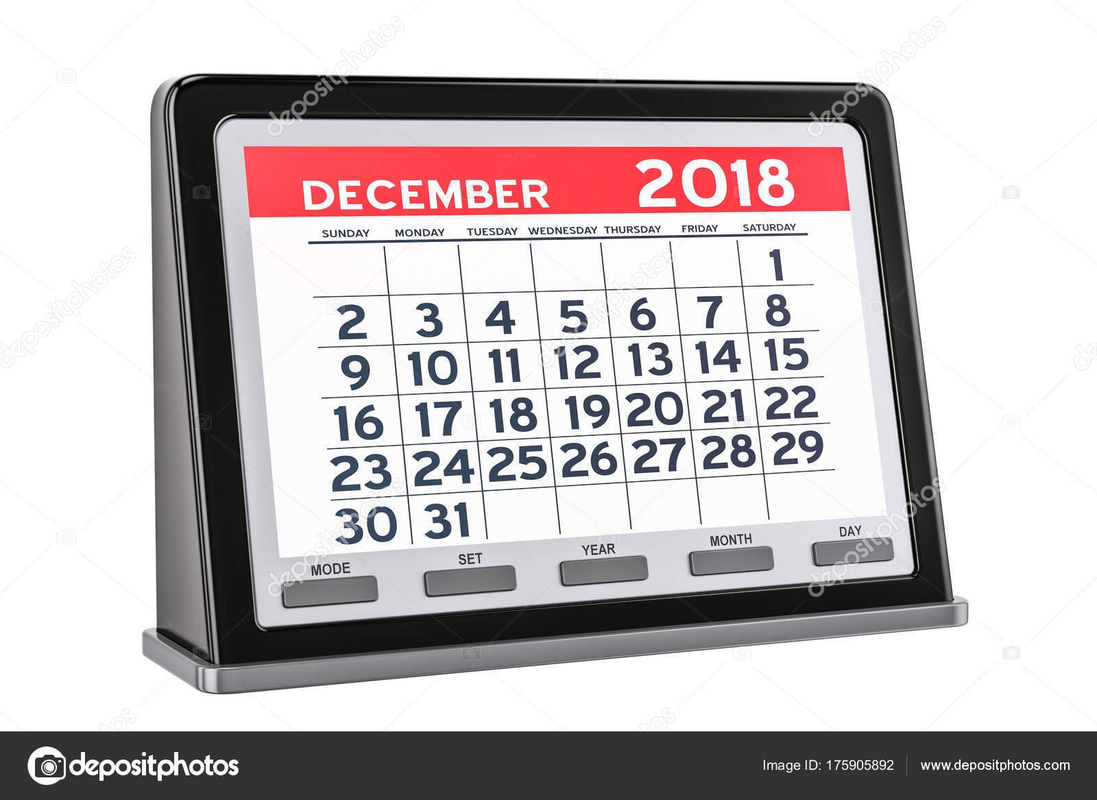Calendrier Digital.Calendrier Digital Decembre 2018 Rendu 3d Photographie
