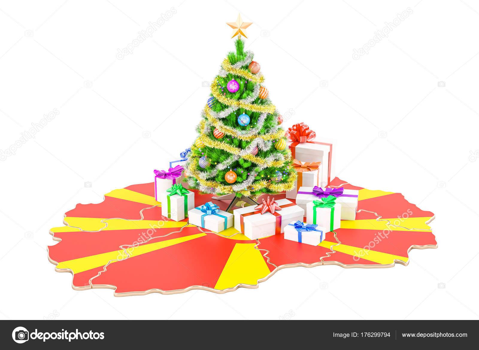 Frohe Weihnachten Mazedonisch.Weihnachten Und Neujahr Urlaub In Mazedonien Konzept 3d Renderi