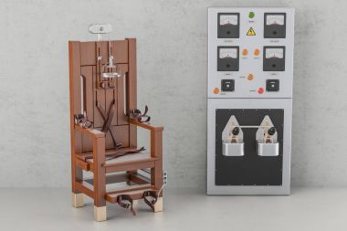 Electric chair with electrical power panel box, 3D rendering