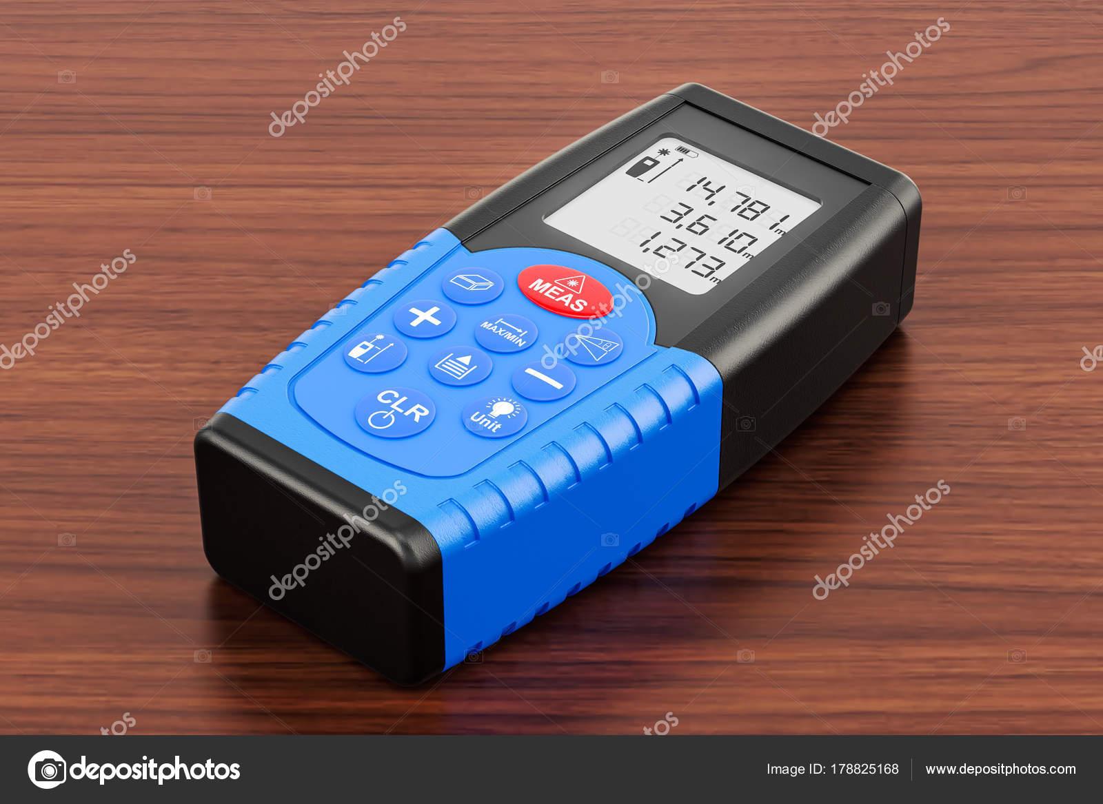 Laser Entfernungsmesser Wie Funktioniert : Laser entfernungsmesser auf dem holztisch d rendering
