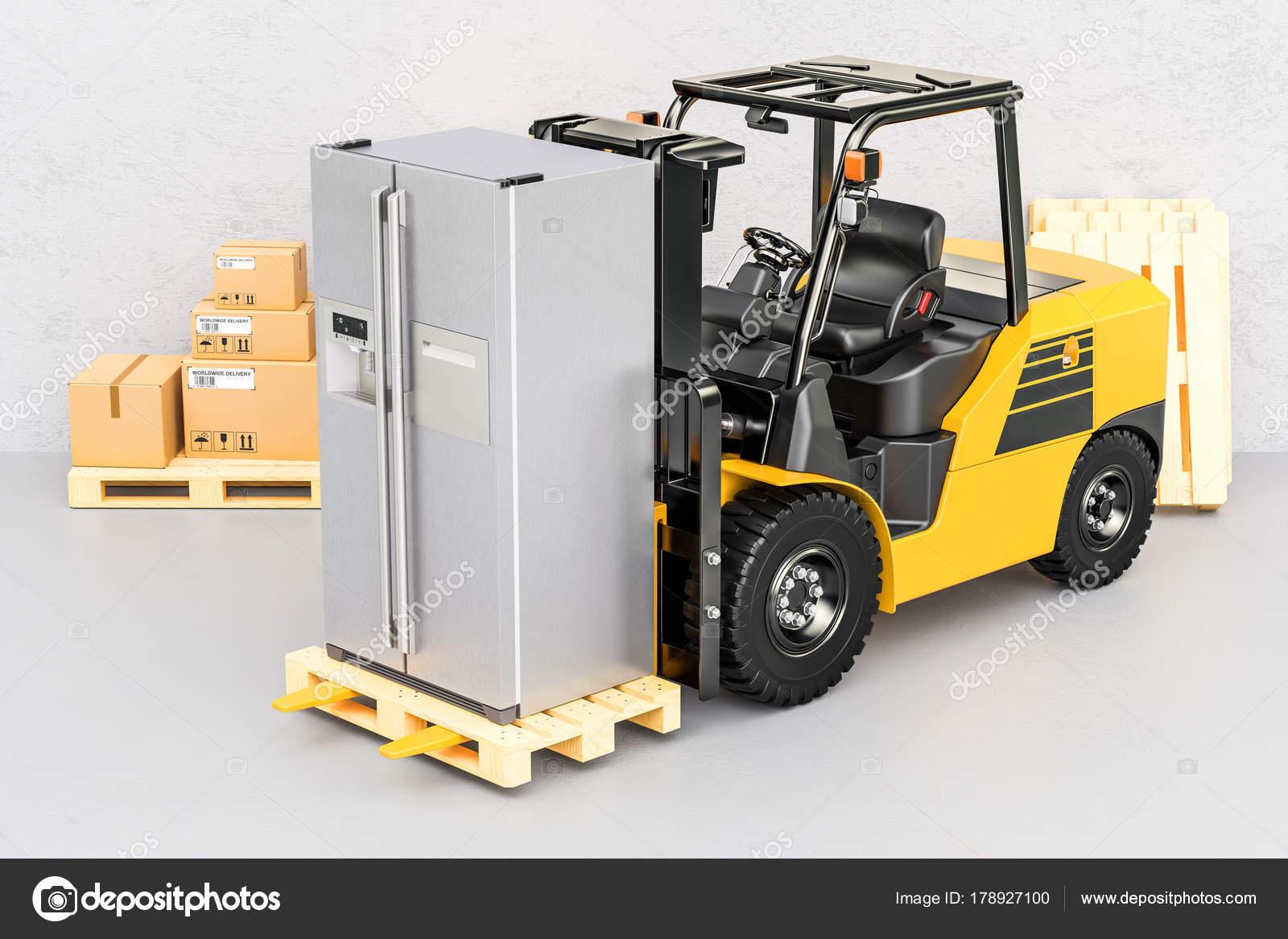 Kühlschrank Transport Auto : Gabelstapler mit modernen kühlschrank gerät lieferung d rende