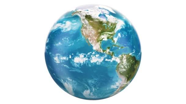 Země světa rotace, vykreslování 3d objektů izolovaných na bílém pozadí