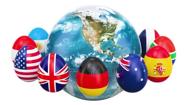 Easter holiday concept. Eggs with flags rotating around the Earth, 3D rendering isolated on white background
