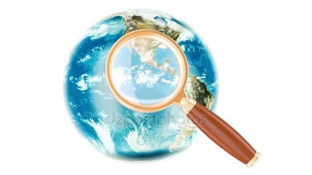 Globální vyhledávání koncept s rotující zemi světa, vykreslování 3d objektů izolovaných na bílém pozadí
