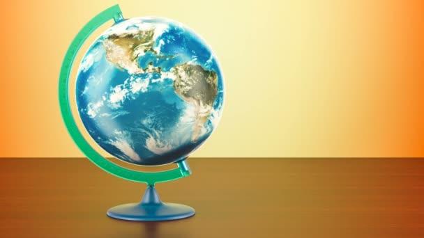 Zeměpisný glóbus planety země rotace, 3d vykreslování na dřevěný stůl