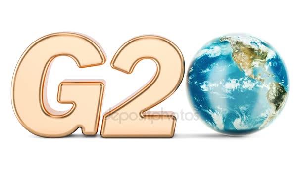 G20-Konzept. Goldene Inschrift mit rotierenden Erdkugel, 3D-Rendering isoliert auf weißem Hintergrund