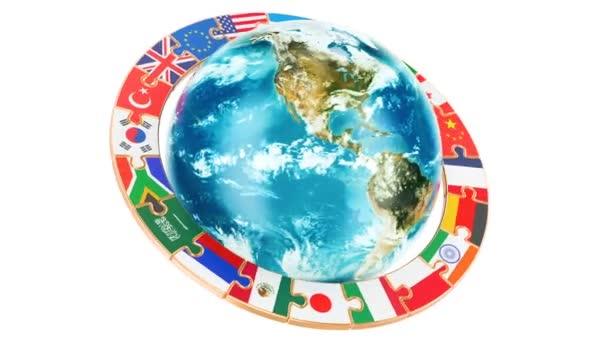 Mezinárodní globální komunikační koncept s rotující zemi světa, vykreslování 3d objektů izolovaných na bílém pozadí