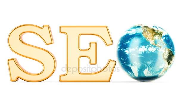Koncept SEO s rotující zemi světa, vykreslování 3d objektů izolovaných na bílém pozadí