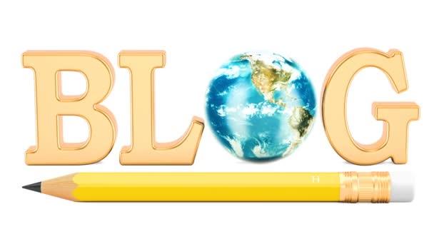 Blog koncept s tužkou a otáčení země světa. 3D vykreslování izolovaných na bílém pozadí