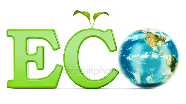Eco inscription with rotating Earth Globe, 3D rendering isolated on white background