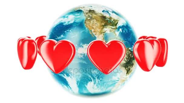 Földgömb, piros szívekkel körül, animációs koncepció. 3D rendering elszigetelt fehér background