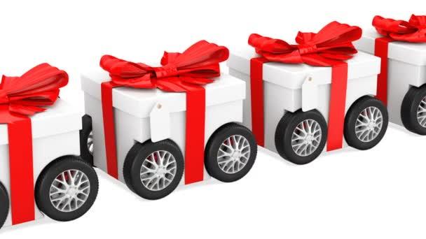 Dárkové krabice na kolech, dárek dodání koncepce, animace. 3D vykreslování izolovaných na bílém pozadí