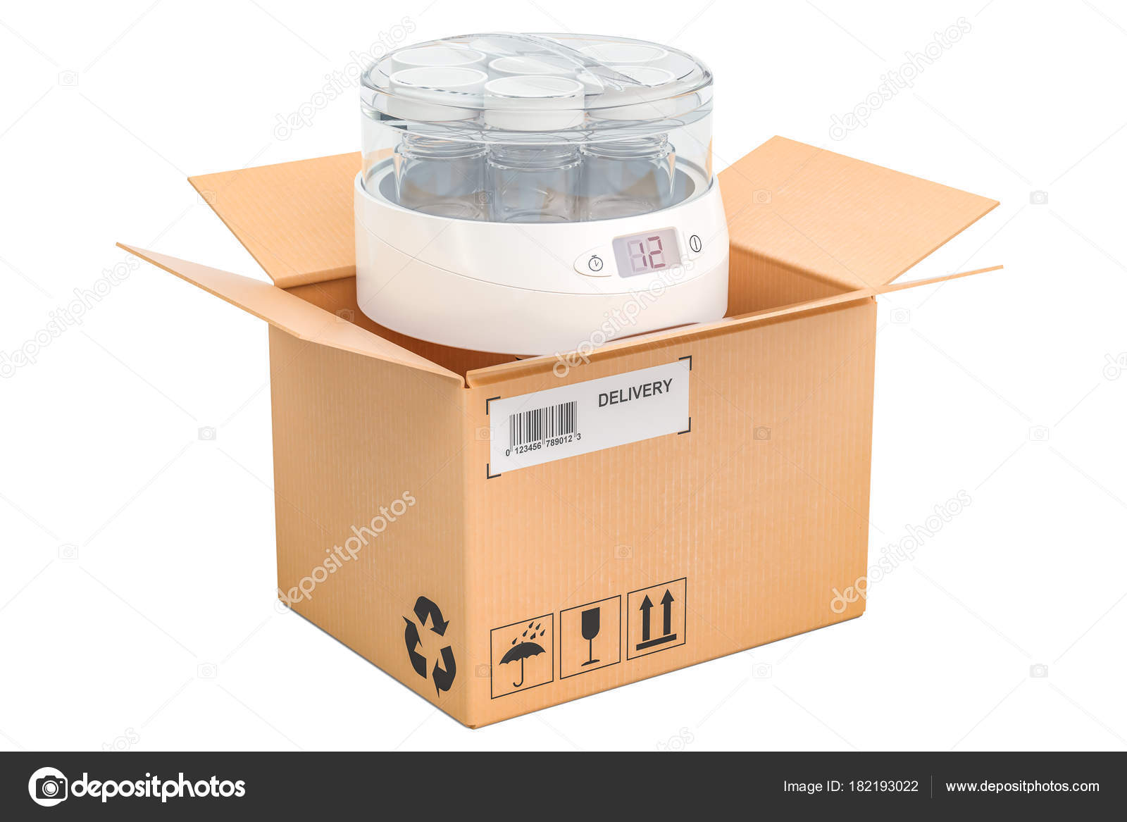automatic yogurt maker inside cardboard box delivery concept 3