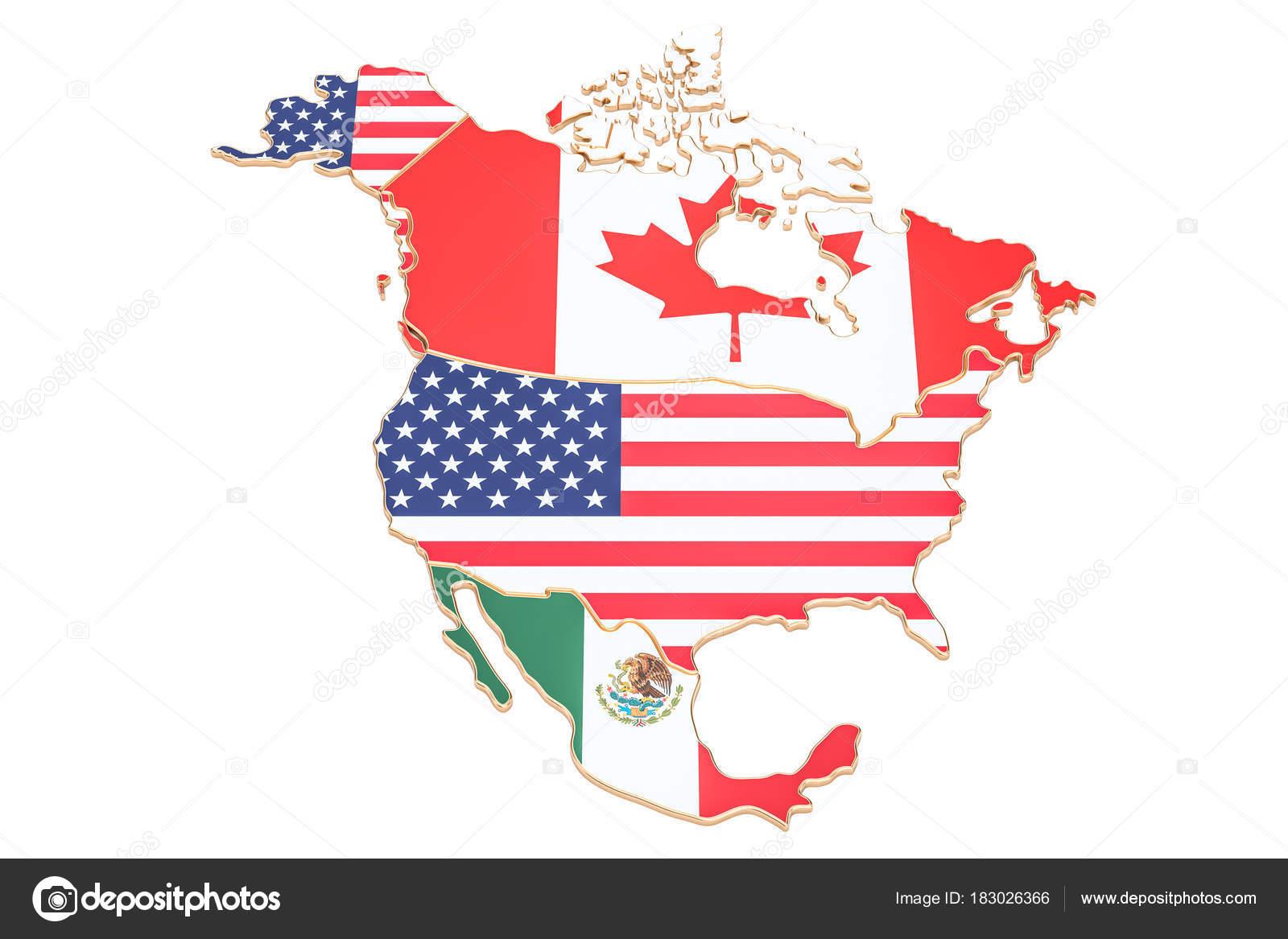 Carte Usa Canada Mexique.Carte De L Amerique Du Nord Avec Des Drapeaux Des Usa