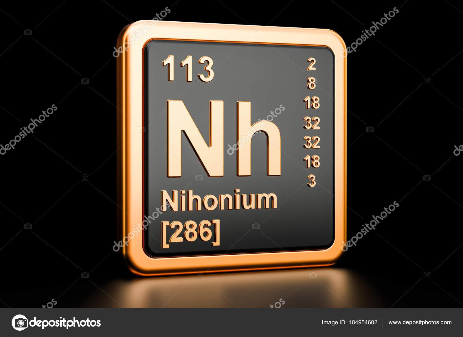 Nihonium Nh 化学要素。3 d レン...