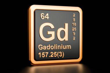 Gadolinium Gd chemical element. 3D rendering