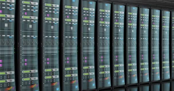 Serverraum im Rechenzentrum, Animation. 3D-Darstellung